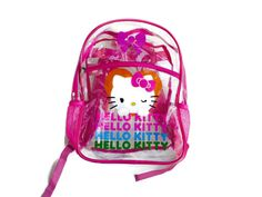 flash sale 30 % off 90s Pink Clear Vinyl Transparent Backpack HELLO KITTY Backpack