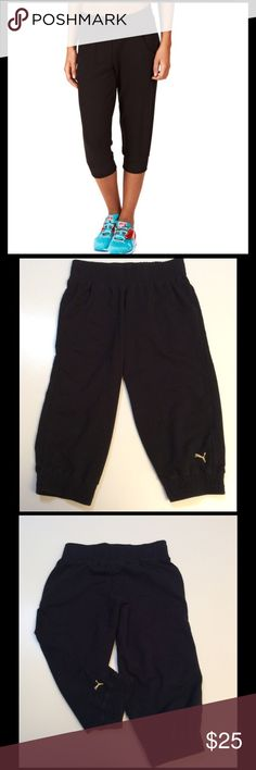 Puma Black Capris Joggers Black Puma Capris Length Joggers. Thick waistband. Very good condition. Pockets on the front. Cute & Comfy!! Perfect for lounging around or running errands. Size Medium  📸photo credit: @meow7 Puma Pants Track Pants & Joggers