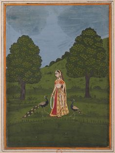 Lady with Pecocks - Rajput Ragamala Painting from a Manuscript, Circa 1800 Indian Artwork, Mughal Paintings, Rain Art, Indian Artist, Bnf, Islamic Art, Cool Artwork, Art And Architecture, Fine Art Paper