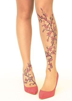 Stop And Stare Cherry Blossom Tights
