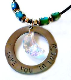Statement Necklace I love you to the moon w/Swarovski by justByou, $20.00 #pcfteam