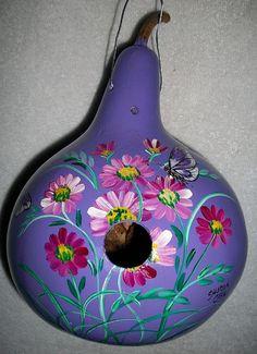 Butterflies and Cosmos Painted Gourd by SharonsCustomArtwork, $25.00