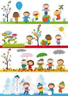 Kids in four season Vinyl Wall Mural - Seasons Seasons Activities, Preschool Activities, Preschool Printables, Weather For Kids, School Murals, School Painting, Kids Vector, Magazines For Kids, Kindergarten Classroom