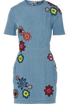 House of Holland Nancy appliquéd distressed chambray mini dress | NET-A-PORTER