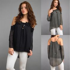 Gorgeous Italian silk cold shoulder blouse available in black, grey and navy. #boutique #style #fashion #italy #silk #blouse #contemporary #womensfashion #beauty #fashionista #shopaholic #bestofnova #fairfaxcorner #northernvirginia