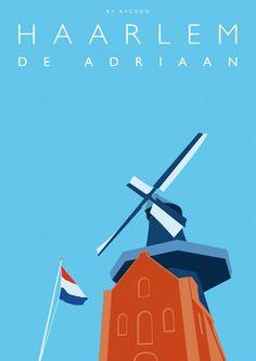 Molen De Adriaan van Haarlem als grafische kunst aan de muur. Strak, modern en uniek. #kunst #grafisch #haarlem