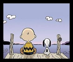 Sittin' on the dock of the bay .....Charlie & Snoopy ~ <3