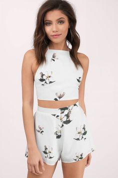 "Search ""Floral Interest Shorts"" on Tobi.com! white floral high neck halter tank crop top flowy short mini petite shop buy cheap inexpensive ideas chic fashion style fashionable stylish comfy simple ch"