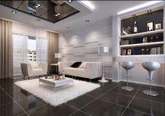 LED ceiling light fixtures: elegant living room with LED lighting