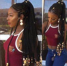 Half Cornrow And Half Box Braids With Beads Braids With Beads Cornrows With Box Braids