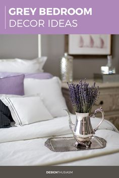 Looking for bedroom decor ideas for a grey bedroom? Classic hotel bedding adds luxury to the bedroom with layers of modern white linens. Modern French Country, French Farmhouse Decor, Farmhouse Style Decorating, French Decor, Country Farmhouse, Country Bedroom Design, Country Interior Design, Grey Bedroom Decor, Master Bedroom