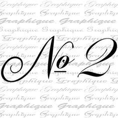 NUMBER 2 One Fancy SCRIPT Digital Image Download by Graphique
