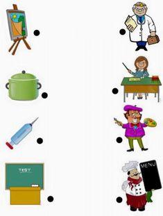 jobs matching worksheets for kıds Educational Activities For Kids, Montessori Activities, Kindergarten Activities, Preschool Activities, Community Helpers Worksheets, Community Helpers Preschool, Preschool Jobs, Preschool Crafts, Teaching Kids