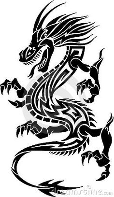 Tribal Tattoo Dragon Royalty Free Stock Photo - Image: 6557745