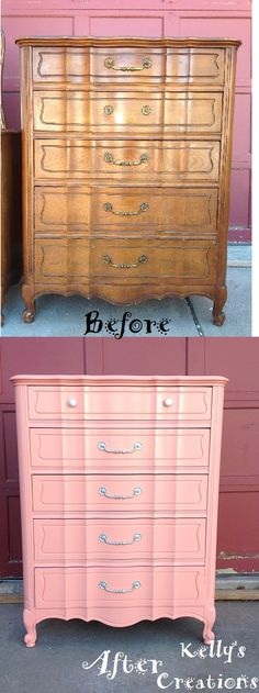French Provincial tallboy dresser painted coral pink with silver hardware before and after pictures. Refinished by Kelly's Creations.  https://www.facebook.com/pages/Kellys-Creations-Refinished-Furniture/524028237619793