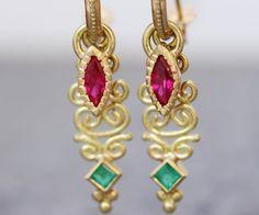 Gold Hoop Earrings Emerald Gold Earrings Ruby earrings | Etsy