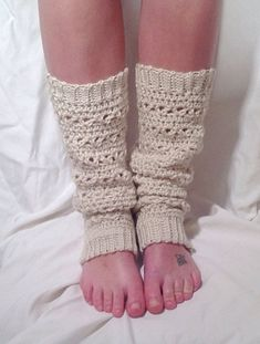 Oatmeal Lace Stitch Crochet Leg Warmer by DapperCatDesigns on Etsy