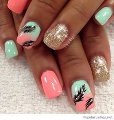 Coral and mint nail design with golden glitter