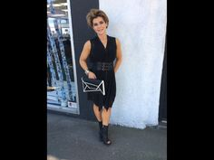 All Saints silk dress and booties with BCBG clutch