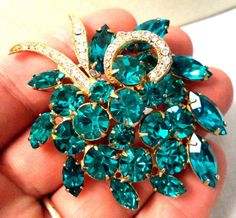 JAWDROPPING VINTAGE ESTATE SIGNED EISENBERG ICE RHINESTONE BROOCH MINTY!!! G1676