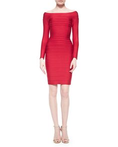 Herve Leger Long-Sleeve Bandage Dress