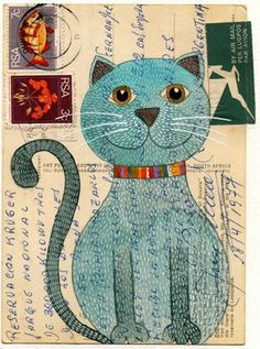 Watercolor and acrylic ink on vintage 70s post card... by Geninne