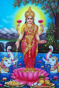 Lakshmi has also been a goddess of abundance and fortune for Buddhists Divine Mother, Mother Goddess, Diwali Pooja, Saraswati Goddess, Lakshmi Images, Indiana, Lord Vishnu Wallpapers, Tanjore Painting, Hindu Art