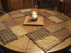 Can't find the original source for these - it was 2007. Primitive quilt pattern placemats. Mine came out gorgeous and match the tree skirt I did.