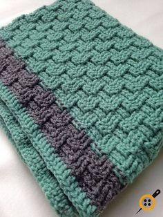 Tığ işi sepet örgüsü bebek battaniyesi modelleri Basket Weave Crochet Blanket, Baby Boy Crochet Blanket, Blanket Basket, Baby Afghans, Baby Blankets, Crochet Blankets, Baby Afghan Crochet Patterns, Free Baby Blanket Patterns, Crocheted Afghans