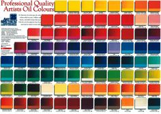 Art Spectrum's Australian Oil Colour chart with over 100 colours in the range from series 1 to series 5...