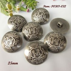 12Pcs Round Carving Overcoat Suit Shank Buttons Silver Retro Vintage 17mm