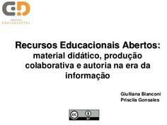 Recursos educacionais abertos: material didático, produção colabora...
