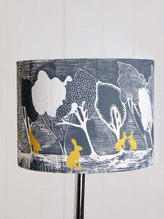 Silk Lampshade Woodland Charcoal with Yellow Hares Hand Screen Printed Large size Watership Down, Standard Lamps, Kids Sleep, Woodland Creatures, Bedroom Themes, Surface Pattern, Lampshades, Diy For Kids, All The Colors