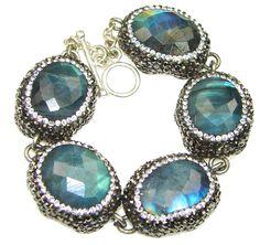 $96.95 Beautiful Design! AAA Fire Labradorite Sterling Silver Bracelet at www.SilverRushStyle.com #bracelet #handmade #jewelry #silver #labradorite