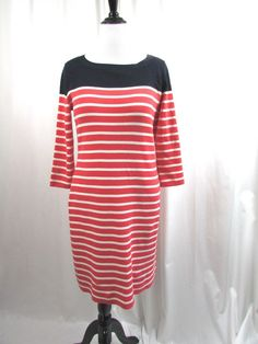 Talbots Nautical Knit Sweater Dress Coral Navy Striped Size Large L NWT $129 #Talbots #SweaterDress #WeartoWork