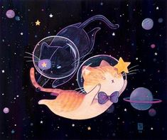 gouache illustration commissions for lovely kitty owners. Cute Animal Drawings, Kawaii Drawings, Gouache Illustrations, Space Cat, Cat Drawing, Cute Illustration, Cat Art, Cute Wallpapers, Art Inspo