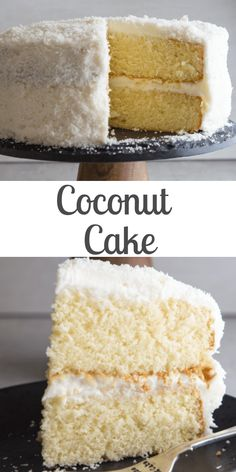 Coconut Cake, a delicious soft, moist cake with a creamy cream cheese frosting. Topped with coconut flakes, a perfect Christmas or anytime Dessert. Cupcake Recipes, Cupcake Cakes, Dessert Recipes, Cupcakes, Sweets Cake, Pie Recipes, Recipies, Moist Cakes, Fancy Cakes