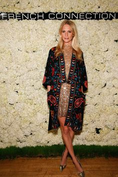 Poppy Delevingne.. French Connection Moonbeamer Sequinned Dress, French Connection Miko Stitch Kimono Coat, and tiptop pumps..