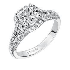 Cushion cut diamond engagement ring with diamond halo and a diamond accented split shank and diamond bridge. Style: Ariel #ArtCarvedBridal