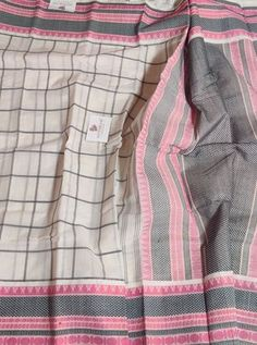 White colour Checks kanchi Cotton saree with Thread woven Border and pallu & Running Blouse