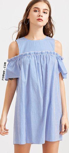 Blue Striped Cold Shoulder Ruffle Trim Dress