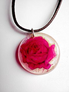 Resin Pendant Necklace Pink Rose White Pearl Pendant Leather Cord Sterling Silver Clasp, via Etsy.