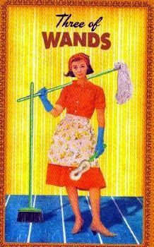 """Thursday's Tarot: 3 OF WANDS (Housewives Tarot) – Progress is being made today. Yes, there's still more work to be done, but your accomplishments so far represent the first signs of success! You can't simply sit back and wait for those proverbial ships to come in. You have to bring them in yourself – and that happens through the work and effort you apply. Consider what needs to be done next in terms of finally getting to that """"bigger picture"""" you're striving to reach."""