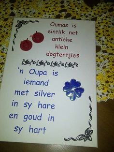 Oupa en ouma Grandparents Day, Afrikaans, Qoutes, Arts And Crafts, Brush Strokes, Words, Worksheets, Projects, Scrapbooking