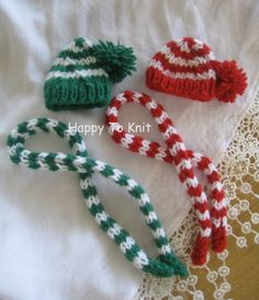 Christmas Elf clothes  handknit hat / scarf for Elf by HappyToKnit