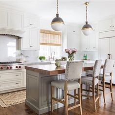 The prettiest gray and white kitchen design from @jamiekeskindesign! Down the road, we're likely going with the white cabinets/gray island combo too and this serves as beautiful inspiration!