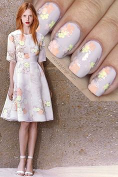 Inspired by Honor Resort 15 collection ~ using soft lavender base polish, a metallic polish and a selection of pastel polishes with a dotting tool to create flowers ~ link to photo tutorial by Miss Lady Finger