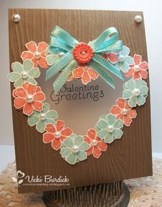 Valentine's Day wreath card featuring Stampin' Up! products #StampinUp