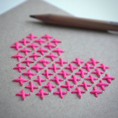 Greeting Card Stitched Heart di StofferBlik su Etsy
