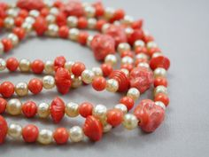 Long Vintage Necklace Coral Glass and Faux Pearl by HOTCollection